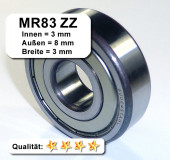Radiales Rillen-Kugellager MR83ZZ - 3 x 8 x 3 mm