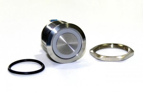 Wasserdicht IP67 25mm Drucktaster LED weiß als Schalter Edelstahl